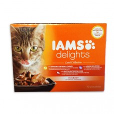 Iams Delights Cat Pouches Land in Gravy 12x85g