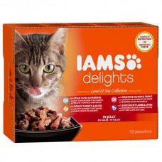Iams Delights Cat Pouches Land & Sea in Jelly 12x85g